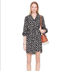 Kate Spade | 100% Silk Black Floral Shirt Dress XS